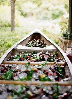 bottles in a canoe
