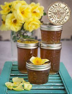 Dandelion Rose Petal Freezer Jelly: Prep Time: 1 Hour, Plus 8 Hours Steeping Time Cook Time: 25 Minutes  Makes: About 3 ½ Cups
