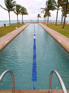 Swimming lap pool on the beach