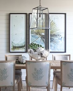 Coral dining room chairs.