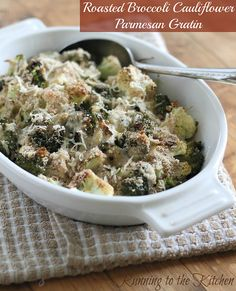Roasted broccoli & cauliflower parmesan gratin