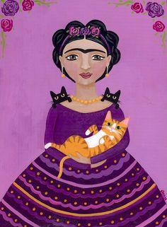 Frida and Friends Original Cat Folk Art Painting by KilkennycatArt