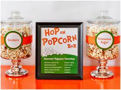 LOVE this idea! Gourmet popcorn bar {purchased or homemade}:  birthday cake batter, cinnamon sugar, chocolate moose munch, peanut butter cup, popcorn balls, cheese, kettle corn, snickers, caramel.