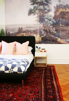 Bedroom of Abbey Nova - Interior decorating by Jenny Komenda of Little Green Notebook - wall mural - old rug