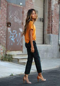plaid pants & orange.