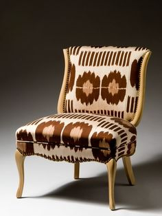 Madeline Weinrib Brown Collins Ikat 1940s French Chair