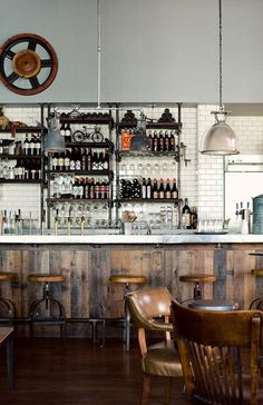 Eat Drink Americano in LA. #bar #restaurant #exposed #shelves #rustic #reclaimed
