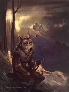 Grumpy Cat as a member of the Khajiit race
