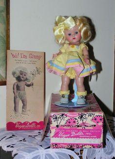 STRUNG Vogue Ginny 1953 PAT #31 nr. MINT-IN-BOX, Correct Mkd Box, STAPLED BOW! #HARDPLASTIC8GINNYDOLL