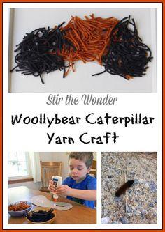 Woollybear Caterpillar Yarn Craft | Stir the Wonder #finemotorfriday #finemotor #toddlercraft #preschoolcraft #kbn