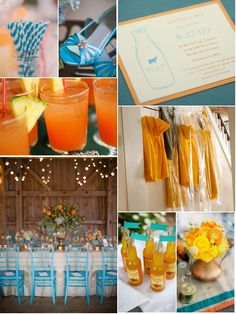 orange and turquoise