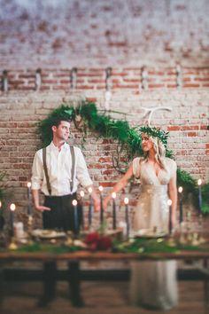 wedding inspiration with a greenery backdrop, photo by Melissa Biador http://ruffledblog.com/barber-shop-anniversary-shoot #weddingideas #reception
