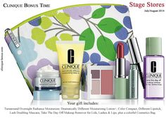 Stage stores bonus time starts now. In order to get this gift, spend 27 USD on Clinique products online or in-stores. http://clinique-bonus.com/other-us-stores/