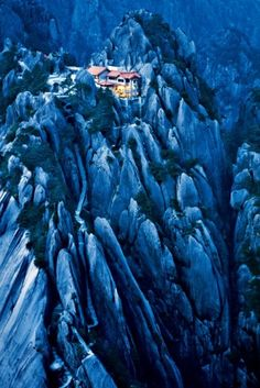 Jade Screen Peak, or Yuping Peak, is in the Yellow Mountain range, some 70 peaks that make up one of China's most celebrated landscapes. For centuries, Chinese painters and poets have depicted its vertiginous scenery—stone crags and endless steps, twisted ancient pines, hot springs, and seas of mist and cloud.