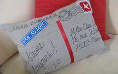 Postcard pillow DIY