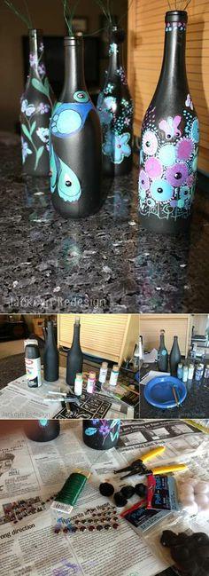 project, idea, craft, painted wine bottles, paint wine