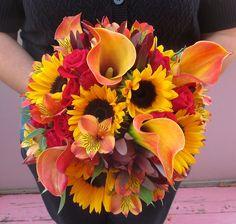 Fall Bouquet with Yellow Sunflowers, Yellow/Orange Calla Lilies, Orange Juice Alstroemeria, Burgundy Safari Sunset, and Red Mini Roses