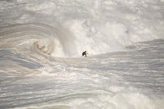 (Photo and caption by Rui Caria / National Geographic Traveler Photo Contest)  A surfer ending a giant wave in Nazaré North Canyon.