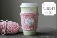 Cup Cozy for Valentine's Day from Setting for Four #diy #knitting #cup #cozy