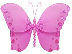 "5"" Small Dark Pink (Fuchsia) Twinkle Butterfly Decorations - butterflies hanging nylon nursery bedroom girls room ceiling wall decor, wedding birthday party baby bridal shower $4.95"