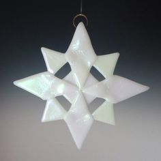 NORTH White Iridized Fused Glass Snowflake Ornament Suncatcher via Etsy
