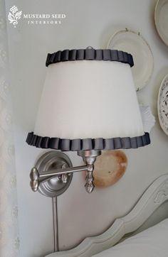 Hot glue grosgrain trim to plain lampshades