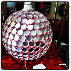 chandelier made of bottle tops