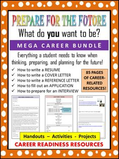 This 85-page student packet bundle provides students with information, handouts, activities, and projects that will help to introduce them to the skills necessary for obtaining a job or career. #resume  #interview #career #teaching #job