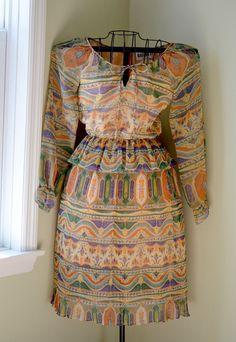 80s vintage ethnic print dress