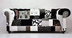 Black and White Patchwork Sofa