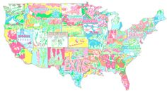 lilly pulitzer, charms, unit state, map, southern charm, print, united states, country, lilli