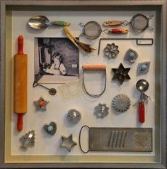 INSPIRATION: frame Grandma's baking utensils and lots of other shadow box ideas. No tutes.
