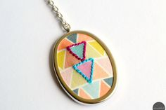 triangle geometric embroidered pendant necklace, graphic, tribal, embroidered