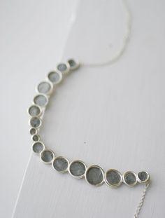 Minimalist Gray Sterling Silver Bubble Necklace, Modern Artisan Paper Jewelry, Dove Gray, Elegant Wearable Art....
