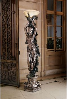 French Art Nouveau Bronze Statue Lamp | Art Deco Peacock Lady Statue Art Nouveau Floor Lamp