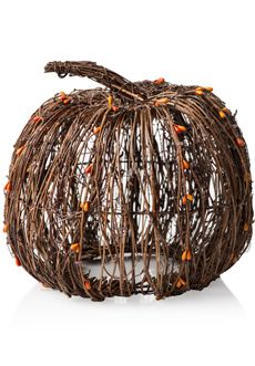Natural Twig Pumpkin Shade - each one is hand woven so each piece is as unique as you are! Beautiful paired with the Simmering Lights Base with Orange Frosted Liner.