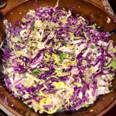 Clean Eating Cabbage Salad with a Greek Yogurt Dressing.