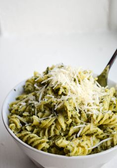AVOCADO PESTO RIGATONI. My favorite pesto mixed with an avocado for a creamy + healthy pasta sauce.