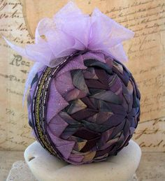 Beaded Christmas Ornament Lavender Quilted Holiday by LadyAbeada, $30.00