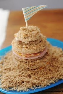 Sandcastle Sandwich using bread crumbs for sand