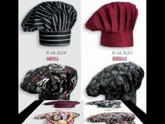 Gorros de cocina de estilo champiñón , disponibles a juego otros modelos como bandanas y gorros de tambor así como chaquetas de chef