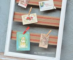 Trash to Treasure salvage junk idea...use old picture frame and burlap ribbon to make darling card/picture/wedding placard name seating/Christmas cards etc holder