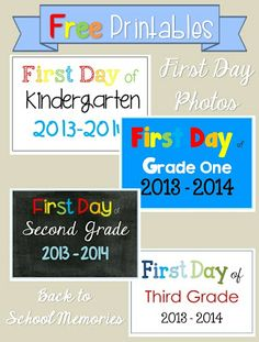 FREE First Day of School Photo posters. http://cleverclassroomblog.blogspot.com.au/2013/08/free-first-day-of-school-photo.html