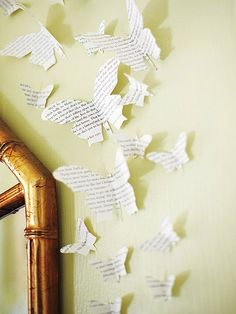 Use and old book or newspaper to create inexpensive 3D interest to the wall of your #nursery.