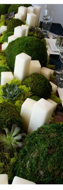 Pretty, organic, green centerpiece decor of moss, succulents, and square candles. Simple elegance.