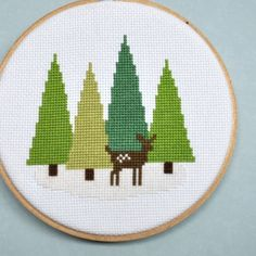 Cross Stitch Pattern Deer in the Forest by Sewingseed on Etsy, $4.00