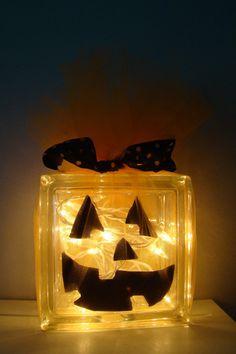 Pumpkin glass block - cute and easy idea!