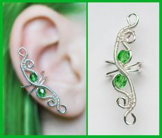 Emerald green elven EAR CUFF with czech glass crystals, perfect for gift, silver wire original handmade