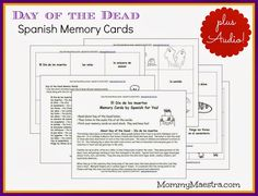 Mommy Maestra: Free Día de los Muertos Spanish Vocabulary Cards