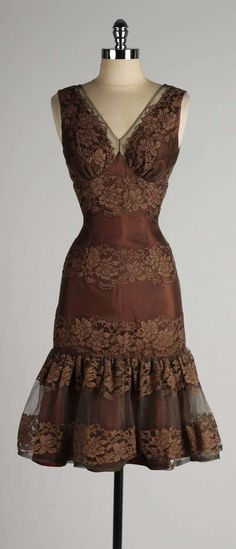 Chocolate brown satin cocktail dress with lace and chiffon overlay, 1950s. Divine.